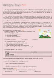 English worksheet: Air pollution: Causes and effects
