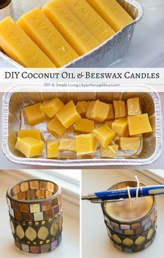 Learn how to make these easy DIY coconut oil and beeswax candles.definitely need to add this to the project list! diy candles Make Beeswax and Coconut Oil Candles: Easy Beeswax Candle Recipe Oil Candles, Scented Candles, Candle Jars, Candle Holders, Candle Gifts, Natural Candles, Flameless Candles, Expensive Candles, Diy Cadeau Noel