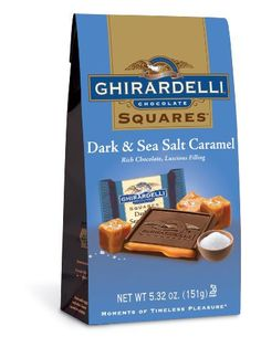 Ghirardelli Dark and Caramel Sea Salt Chocolate Squares Bag, 5.32-Ounce - http://bestchocolateshop.com/ghirardelli-dark-and-caramel-sea-salt-chocolate-squares-bag-5-32-ounce/