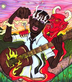 Robert Johnson and the Devil at the crossroad where he sold his soul to be the best blues guitaist, or so the legens says. Robert Johnson, Blue Poster, Gig Poster, William Christopher, Delta Blues, Blues Music, Watercolor Sketch, Blue Art, Illustrations And Posters