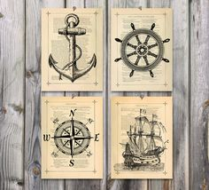 Nautical art Poster Print set Antique drawing illustration 125YR Book page Ships anchor Wheel compass Nautical nursery decor Maritime theme