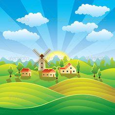 Rural Village Cartoon Rural landscape with houses