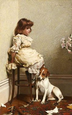 """""""In Disgrace"""" by Charles Burton Barber (1845 – 1894, English)"""