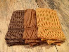 Dishcloths Knit in Cotton in Saffron, Orange/Mustard/Leek and Dk Brown/Acorn/Goldenrod, Knit Dishcloth, Knit Washcloth, Dish Cloth