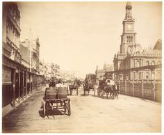 George St, Sydney from Fred Hardie - Photographs of Sydney, Newcastle, New South Wales and Aboriginals for George Washington Wilson & Co. Historical Architecture, Vintage Architecture, Australian Architecture, Australian People, Botany Bay, Sydney City, Mystery Of History, Historical Pictures, Sydney Australia