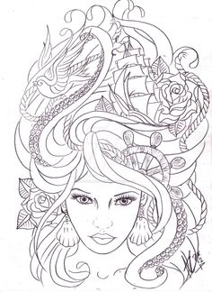 maritime hair tattoo sketch by Nevermore-Ink.deviantart.com on @DeviantArt