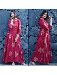 pink tapeta and jquard silk partywear gown - Fabric : Tapeta silk & jaikard silk gown with 4 meter flair( semi stich )fabric given for short sleeves Stylish Dress Designs, Stylish Dresses, Casual Dresses, Maxi Dresses, Nice Dresses, Fashion Dresses, Indian Designer Outfits, Designer Dresses, Designer Kurtis