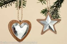 metal and wood, hearts and stars christmas decoration