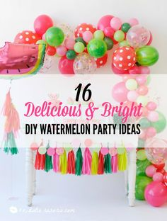 Summer is here! Watermelon parties are a genius idea! It's bright and colorful perfect for a summer BBQ or birthday party. This DIY party is really easy from the paper banners to the watermelon cupcakes! Here's 16 DIY watermelon party ideas!