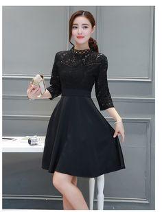 ชุดเดรสสีดำ ชุดสีดำ ตัวเสื้อผ้าลูกไม้สีดำเนื้อดี แขนยาวสี่ส่วน รหัสสินค้า AT5541 ราคา 610 บาท ส่งฟรี EMS