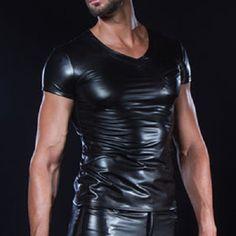 € 72,99 Matis wetlook heren T-shirt met V-hals zwart