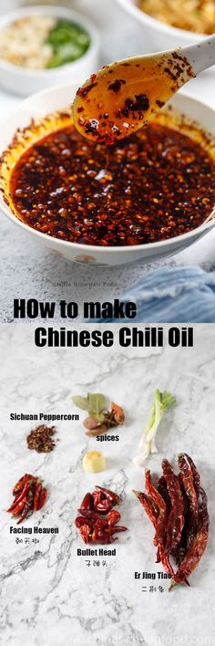 How to Make Chinese Red Oil (Difficult Version) How to make Chinese chili oil Chinese Chili Oil, Chinese Food, Sauce Recipes, Cooking Recipes, Asian Recipes, Ethnic Recipes, Chutneys, Superfood, Asian Cooking