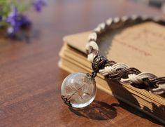 Wish Dandelion Necklace, Braided Choker, floral jewelry, natural cotton cord, Dandelion Seeds Terrarium Glass Pendant, handmade gifts ideas
