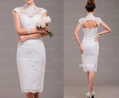 short wedding dresses short sleeve wedding dress lace by okbridal, $228.00