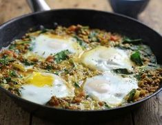 Persian Eggs with Spinach & Lentils Recipe Abel & Cole Lentil Recipes, Egg Recipes, Vegetarian Recipes, Cooking Recipes, Healthy Recipes, Vegetarian Dinners, Delicious Recipes, Chef Recipes, Egg Dinner Recipes