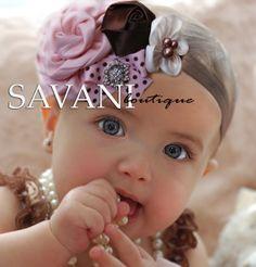 Pink brown baby headbandsBaby HeadbandsGirls by SAVANIboutique, $12.99