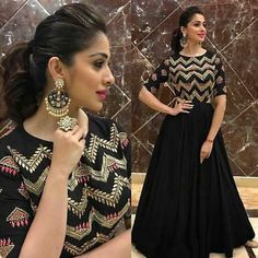 Designer Black Anarkali Gown Product Info : Top : Taffeta Silk with mtr flair Bottom : Santoon Dupatta : Soft Net Fabric Type : Semistitched Work : Heavy Thread Work and Stone work Price : 1700 INR ONLY To buy WhatsApp @ 9054562754 Indian Designer Outfits, Designer Gowns, Indian Outfits, Indian Fashion Trends, Lehenga Designs, Kurti Designs Pakistani, Anarkali Gown, Lehenga Choli, Black Anarkali