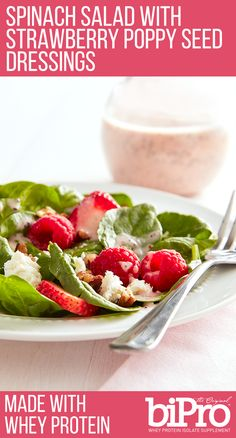 Spinach Salad with Strawberry Poppy Seed Dressing made with Strawberry BiPro Whey Protein