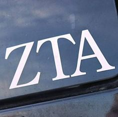 Zeta Tau Alpha (ZTA) Sorority Car Decal White Letters: $3.75. Great Greek Gift.