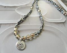 Pax Natura   Lotus Flower Charm And Bead Necklace by OceanaireDreamer on Etsy
