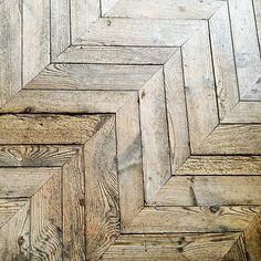 19th century pine chevron flooring with variable width