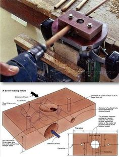 Router Dowel Making Jig - Joinery Tips, Jigs and Techniques - Woodwork, Woodworking, Woodworking Plans, Woodworking Projects Woodworking Essentials, Woodworking Skills, Router Woodworking, Learn Woodworking, Woodworking Techniques, Woodworking Projects, Wine Cork Birdhouse, Dowel Jig, Router Jig