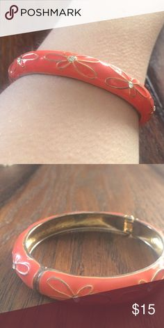 Coral and Gold Bangle Coral bangle with gold flowers, hinged for easy wearing Jewelry Bracelets