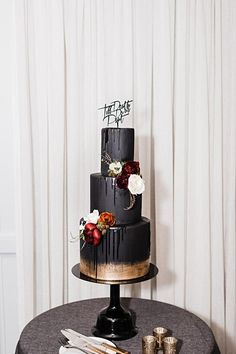 Unique Black cake with gold accents and burgundy and ivory flowers. Til death do us part wedding cake Unique Black cake with gold accents and burgundy and ivory flowers. Til death do us part wedding cake Gothic Wedding Cake, Gothic Cake, Pretty Wedding Cakes, Amazing Wedding Cakes, Wedding Cake Rustic, Wedding Topper, Unique Wedding Cakes, Wedding Cake Designs, Wedding Ideas