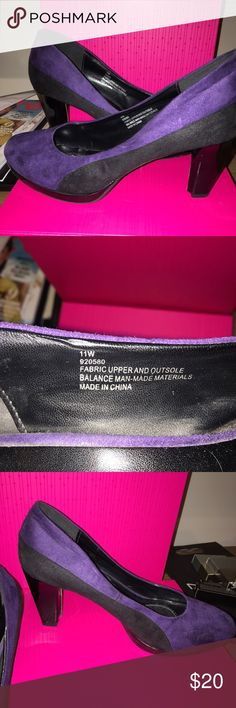 Black & purple pumps Black and purple velvet look pumps. Great for work and play! Lane Bryant Shoes Heels