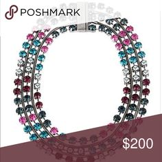 Betsey Johnson necklace Selling to buy betsey pieces I need. This is from the butterfly effect collection. The necklace is a gorgeous multi colored large rhinestones. Collector piece. NWT Betsey Johnson Jewelry Necklaces
