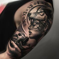 Amazing Black and Gray Piece on man's shoulder