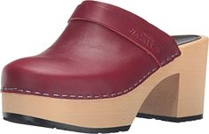 Swedish Hasbeens Women's Louise Wine Red Clog/Mule 37 (US Women's 7) B (M) ** Click on the image for additional details.