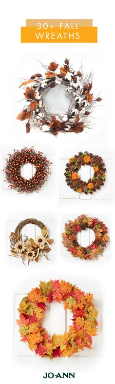 Curb appeal meets festive fall style with this collection of 30+ Fall Wreaths from Jo-Ann. Whether you're looking for leafy decorations or rustic twig and berry, you're sure to find the perfect piece of autumnal decor for your home.