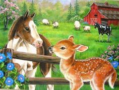 Ravensburger - New Neighbors - 60 Piece Kids Jigsaw Puzzle Illustration Mignonne, Cute Illustration, Farm Animals, Animals And Pets, Cute Animals, Cross Paintings, Animal Paintings, Animal Pictures, Cute Pictures