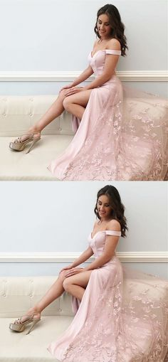 pink off shoulder prom party dresses with appliques, fashion formal evening gowns with split.