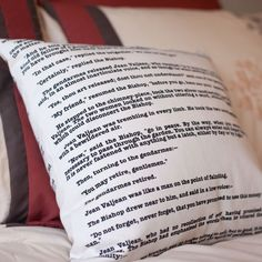 """Now you can fall asleep while reading your favorite book! The word's of Victor Hugo's Les Miserables is screen printed by hand on both sides of this 16"""" x 16"""" pillow cover. Our pillow covers are const"""