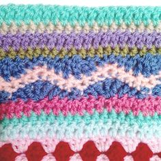 as-we-go stripey blanket – not your average crochet Striped Crochet Blanket, Crochet Blanket Edging, Plaid Crochet, Crochet For Beginners Blanket, Crochet Cushion Pattern, Crotchet Patterns, Crochet Stitches Patterns, Scrap Yarn Crochet, Crochet Hot Pads