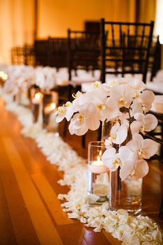 Aisle Decor | Candle Light + Orchids +Rose Petals