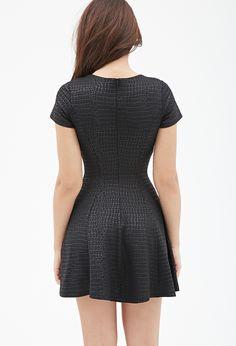 Tonal Crocodile-Patterned Dress | FOREVER21 - 2000117307