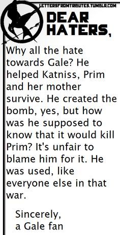 I'm not Team Gale but I'm not fond of blaming him for a mistake. He helped Katniss and her family, and he loved her very much.