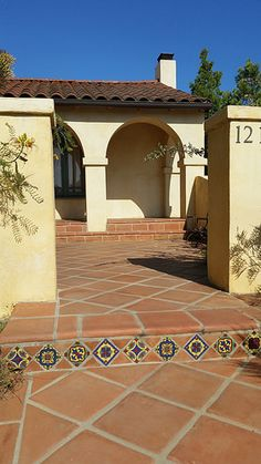 Saltillo Tile walkway with decorative ceramic tile Avente Tile click the link now for more info. Spanish Courtyard, Spanish Garden, Porch Tile, Patio Tiles, Mexican Hacienda, Hacienda Style, Spanish Style Homes, Spanish House, Tile Stairs