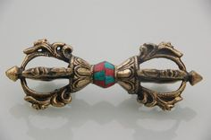 TIBETAN HAND CRAFTED LARGE VAJRA DORJE TSE SHIPA WITH TURQUOISE AND CORAL | eBay