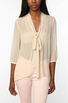 Obviously with more than a bra under it but I like!   Pins and Needles Chiffon Tie Neck Tunic $59