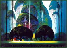 Green Forest - Eyvind Earle was an American artist, author and illustrator, noted for his contribution to the background illustration and styling of Disney animated films in the Born: April New York City Died: July 2000 Art And Illustration, Eyvind Earle, Posca Art, Magic Realism, Art Database, Art Design, Graphic Design, Oeuvre D'art, American Artists