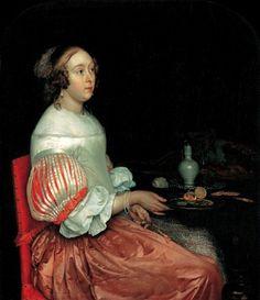 1665 Eglon van der Neer - Woman at breakfast (looove the sleeves!)