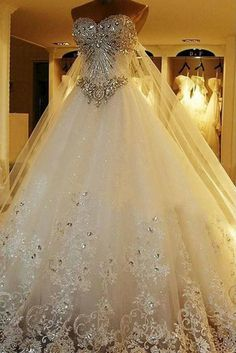 Wedding Dresses Ball Gown, Luxury Tulle & Satin Sweetheart Neckline A-Line Wedding Dresses With Sequined Lace Appliques & Rhinestones DressilyMe Sexy Wedding Dresses, Colored Wedding Dresses, Cheap Wedding Dress, Designer Wedding Dresses, Wedding Gowns, Formal Dresses, Wedding Bells, Ball Dresses, Ball Gowns