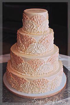 Buttercream Fan Wedding Cake - Four tiers 6/8/11/14 finished in SMBC.  (design seen in Martha Stewart Weddings)