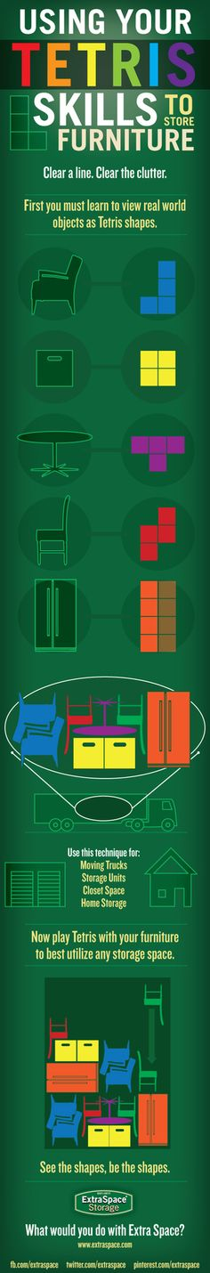 Store Furniture Using Skills from Tetris. I packed trailers of furniture working for moving companies. It was definitely 'tetris' like.