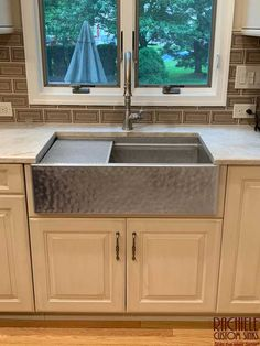Hand hammered and hand finished Stainless Farmhouse Workstation Sink. Available in all sizes. Made in the USA by Rachiele Custom Sinks. See more examples at www.rachiele.com. #stainlesssteel #marinegradestainless #hammeredsink Farmhouse Kitchens, White Kitchens, White Farm Sink, G Floor, Kitchen Designs Photos, Kitchen Sinks, Stainless Steel Sinks, Toilets, Faucets
