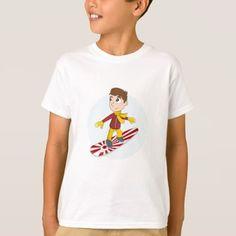 #Snowboarding boy cartoon T-shirt - #giftideas for #kids #babies #children #gifts #giftidea